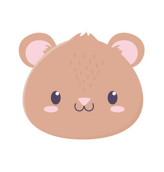 cute bear face animal cartoon isolated icon vector image