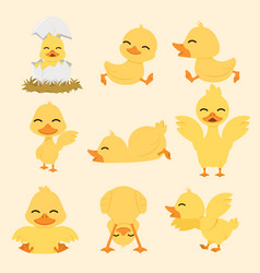 cute yellow duck cartoon set vector image