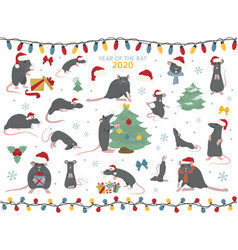 different rats christmas collection rat poses and vector image