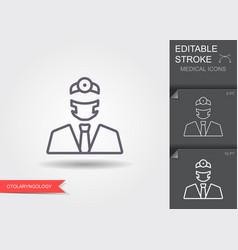 doctor otolaryngologis line icon with editable vector image