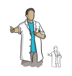 doctor with arm open sketch doodle vector image
