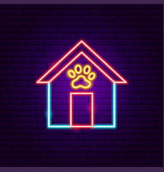 dog booth neon sign vector image