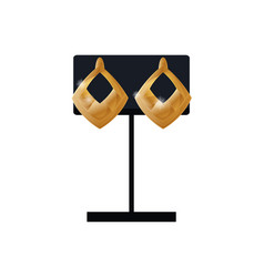 Earrings set gold accessory on black display set vector