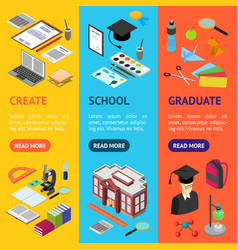 Education school banner vecrtical set isometric vector