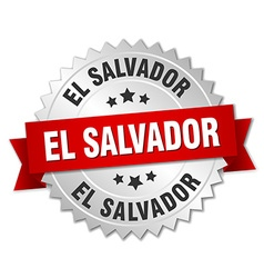 El Salvador round silver badge with red ribbon vector