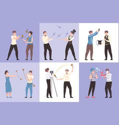 Entertainment show composition flat set vector