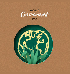 environment day card papercut earth and plant vector image