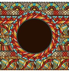 Ethnic round pattern with hand drawn ornament vector