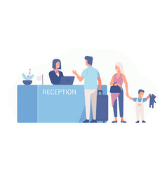 family standing at airport check-in counter or vector image