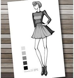 Fashion women in sketch style Abstract girl vector