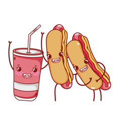 fast food cute hot dogs and plastic cup cartoon vector image