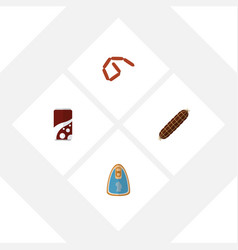 flat icon meal set of smoked sausage fizzy drink vector image