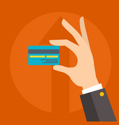 flat money credit card in human hand vector image