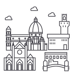 Florence italy line icon sign vector