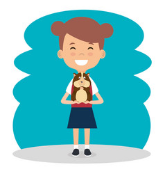 girl with guinea pig character vector image