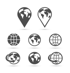 Globe earth icons set isolated on white vector image