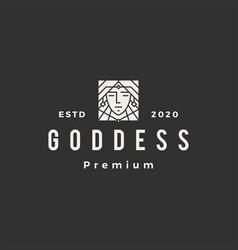 goddess hipster vintage logo icon vector image