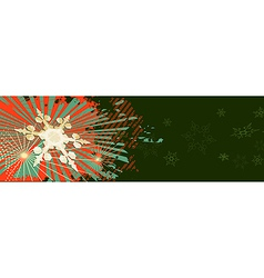 Green Christmas banner with red ornaments vector image