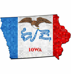 Grunge iowa map with flag inside vector