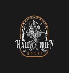 Halloween logo house monster vector