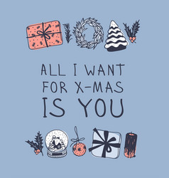 Hand drawn christmas toys and things on blue vector