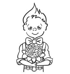 Hand paint draw little smile boy with batterfly vector