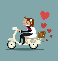 Happy married couple on a moped vector