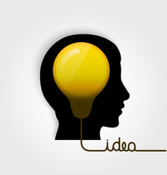 head silhouette with lightbulb vector image