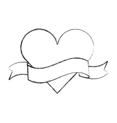 heart love with ribbon romantic icon vector image