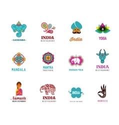 india - set indian icons ganesh elephant vector image