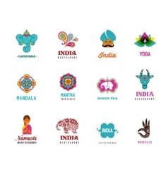 India - set of Indian icons Ganesh elephant vector image vector image