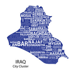 Iraq map words cluster vector