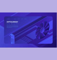 Isometric gpu mining landing page concept vector