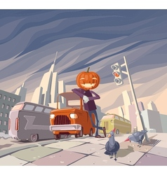Jack OLantern and His Orange Car vector image