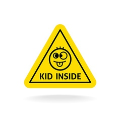 Kid inside fun sign Baby on board concept Car vector