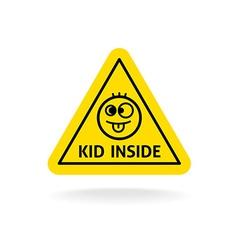 Kid inside fun sign baon board concept car vector