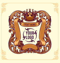King badges logo design template floral frame vector