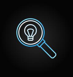 Light bulb inside magnifier outline icon or vector