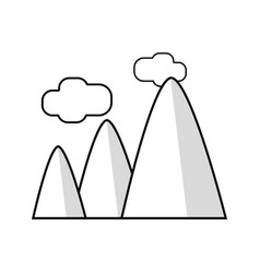 Line mountains with clouds and natural landscape vector