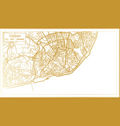 Lisbon portugal city map in retro style in golden vector
