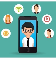 man business smartphone media icons vector image