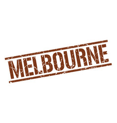 Melbourne brown square stamp vector