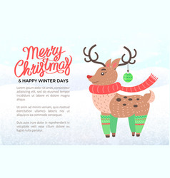 merry christmas holiday banner with deer in scarf vector image