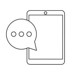 Mobile device bubble speech dialog outline vector