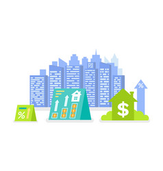modern city real estate building and dollar sign vector image