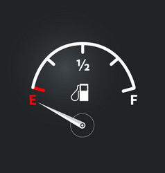 Modern fuel indicator with low fuel level vector