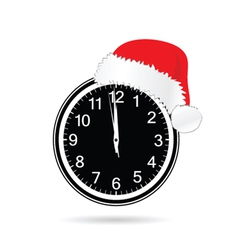 new year clock with christmas hat vector image vector image