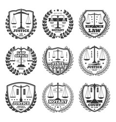 Notary service and court office monochrome icons vector