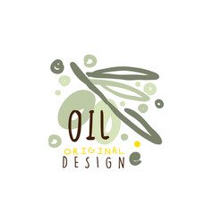 olive oil label with olive branch vector image
