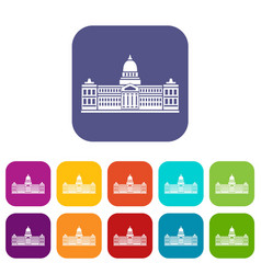 Palace of congress argentina icons set flat vector